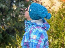 Warme Strick-Mütze mit Bommel petrol türkis gestrickt reine Handarbeit