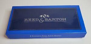 "Reed & Barton ""Golden Jubilee"" Set 4 Steak Knives Stainless Steel 24 kt. Gold"