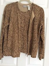LIZ CLAIRBORNE 2PIECES TOP AND SWEATER ANIMAL PRINT LONG SLEEVE 72% SILK NEW