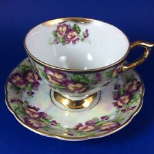 Japanese  Pansies Lustreware Porcelain Footed Tea Cup And Saucer