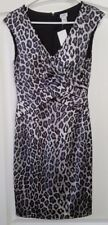 Cache Silver and Black Leopard Printed Sleeveless Dress Size 6 Zipper Back New