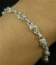 "Gemstone Art Deco Bracelet 7 1/4"" .925 Sterling Silver Peach Moonstone Round"