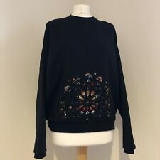DESIGUAL Jumper Size Small Black Cutout Pattern Long Sleeves