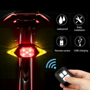 LED Bicycle Bike Indicator Rear Tail Laser Turn Signal Light USB Wireless Remote