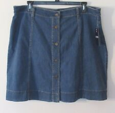 Womens Chaps Washed Blue Denim A-Line Skirt, Cotton Blend, Size 20W NWT