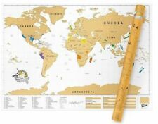 Large Scratch Off Personalised World Map Atlas Travel Poster Vacation Memory