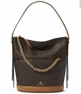 Michael Kors Reese Large Signature Shoulder Bag Brown/Acorn/Gold New
