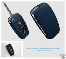 AUDI Schlüssel Cover Lederblende KEYART Echtleder dunkelblau
