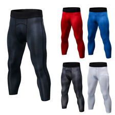Mens Compression 3/4 Leggings Workout Fitness Gym Moisture Wicking Spandex Pants