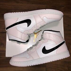 Nike Air Jordan 1 Mid `Barely Rose' Pink - Black - White - UK7.5 US10 EU42 *