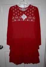 NWT Girls Hanna Andersson Red Sweater Dress Size 160