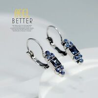 Earrings Sleeper Silver Small Art Deco Navy Blue Light Vintage YW3