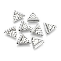 50pcs CCB Style Acrylic Triangle Beads Silver Carved Wave Loose Spacer 14x13.5mm