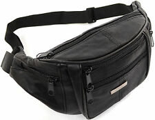 Unisex Soft Nappa Leather Waist Bag / Money Belt / Bum Bag with Multiple Pockets
