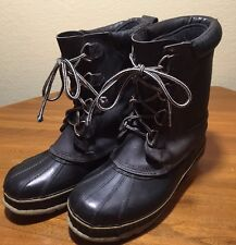 Sno-Pac Winter Boots Lined Size 8 Steel Shank Black Gray Rubber Nice