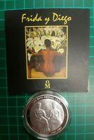 2007 Frida y Diego Silver .999 proof medal 1 OZ Onza plata coin  Mo Mexico mint