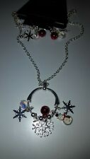 2PC CHRISTMAS Circle necklace earring set w/ SNOWMAN and Snowflakes NEW LOT#24