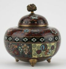 More details for japanese cloisonne incense vessel and lid. c1890