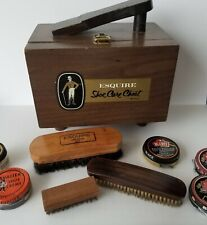 Vintage Esquire Shoe Care Chest Shoe Shine Box With Brushes and Accessories
