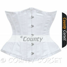 Underbust Corset White Satin Full Steel Boned Spiral Basque Heavy Lacing Shaper