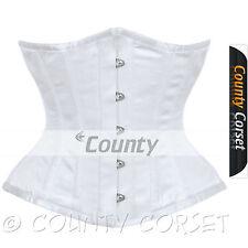 Underbust corsetto bianco in raso stecche acciaio spirale Basco pesanti allacciatura Shaper