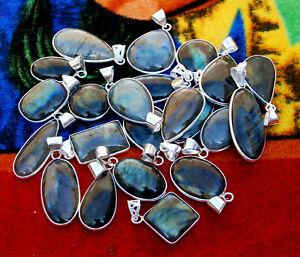 Pcs Lot Natural Labradorite Gemstone 925 Sterling Solid Silver Necklace Pendants