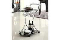 Smoked glass Glass Wine Serving Cart with Chrome Accents  - Free Shipping