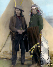 """RED CLOUD & AMERICAN HORSE NATIVE AMERICAN INDIANS 8x10"""" HAND COLOR TINTED PHOTO"""