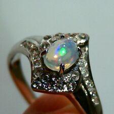 Bague opale welo VIDEO pierre éthiopienne argent 925 silver wello opal ring T56