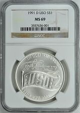1991-D USO SILVER COMMEMORATIVE S$1 NGC MS69