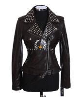 Veronica Brown Ladies Studded Biker Style Retro Fashion Lambskin leather Jacket