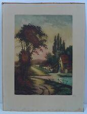 Aquatinta aguafuerte con firma/soleado Distrito aldea paisaje para 1920