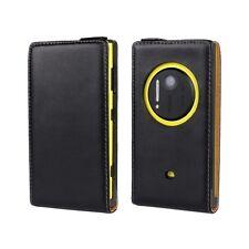 Genuine Real Leather Flip Case Cover Wallet Nokia Lumia 1020-Black