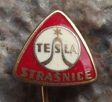 Antique Tesla Strasnice Triangle Electronics Advertising Pin Badge