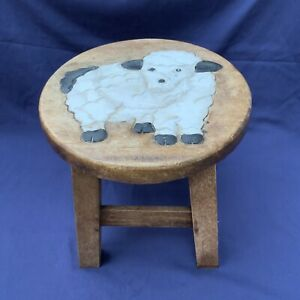 Vintage Childrens Wooden Stool Sheep Lamb Animal Baby Boy Girl Kids Handmade