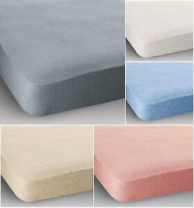 Double Bed Cotton Terry Stretch Fitted Sheet Blue Cream Pink White Elasticated