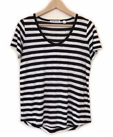 Country Road Striped Linen T-Shirt Size XS Black White Short Sleeve Tee Top