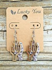 Southwest/Aztec Hammered Silver Cactus Earrings w/Gold Cactus cutout Overlay