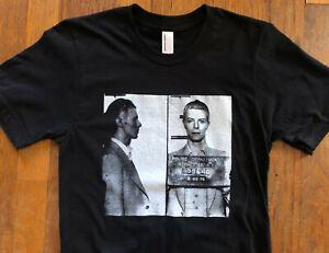 DAVID BOWIE 1976 Mugshot Black T Shirt Size Small NWOT