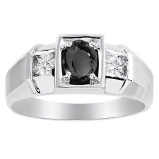 Mens Onyx & Diamond Ring 14K White Gold