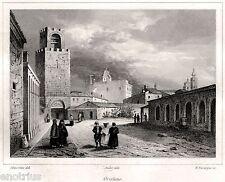 Oristano: Panorama.Campidano.Sardegna.Sardinia.Audot.Acciaio. Stampa Antica.1837