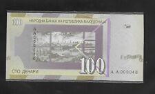 Macedonia 100 denara 2000 millenium issue, low serial no AA000040,  UNC