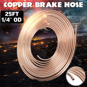 "25Ft Foot 1/4"" OD Roll Coil Copper Nickel Brake Pipe Line Tubing Kit Fittings"