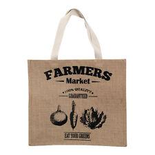 Farmers market shopping sac jute de hesse/tissu de coton naturel/couleur noir