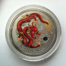2012 $2 Year of the Dragon 2oz Coloured Silver Coin In Capsule