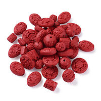 50pcs Mixed Shape Carved Red Cinnabar Beads Red Bead 12~22x10~21x8~12mm Hole 2mm