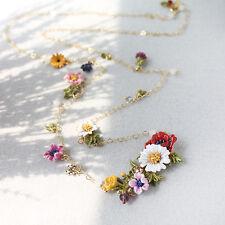 Collana Dorato Lungo Smalto Giallo Rosa Viola Multicolore Fiore Insetto Sottile