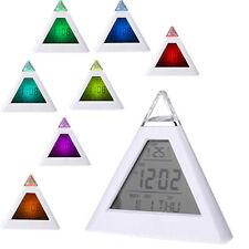 Pyramid Digital LED 7 Color Glowing Snooze Alarm Clock Time Temperature Display