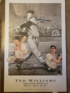 Ted Williams Red Sox signed 23x35 Lithograph Triple Crown PSA