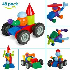 48tlg Magnetbaukasten Baukasten Magnetset Magnetspielzeug Kinder Lernspielzeug